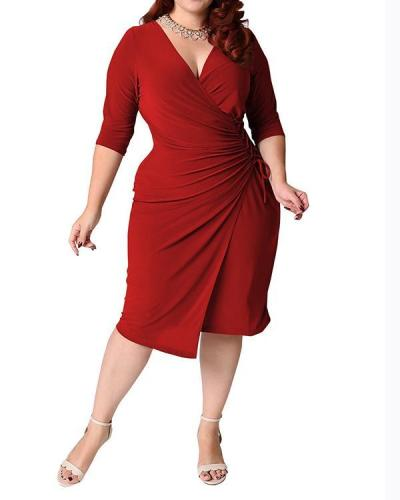 Plus Size Solid Casual Sashes Midi Dress