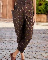 Printed Casual Wrap Pocket Irregular Harem Pants With Belt