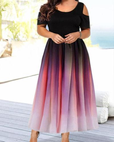 Cold Shoulder Plus Size Elegant Dress