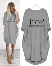 Printing Long Sleeved Irregular Women's Dress