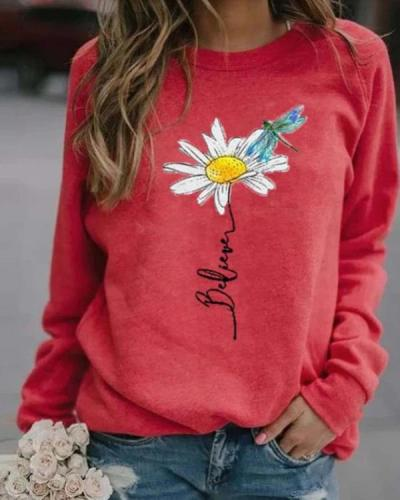 Floral Casual Round Neckline Sweatshirts Tops