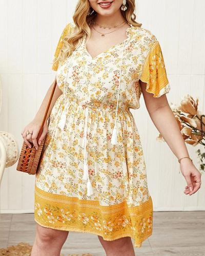 Bohemia Floral Print V-neck Plus Size Dress