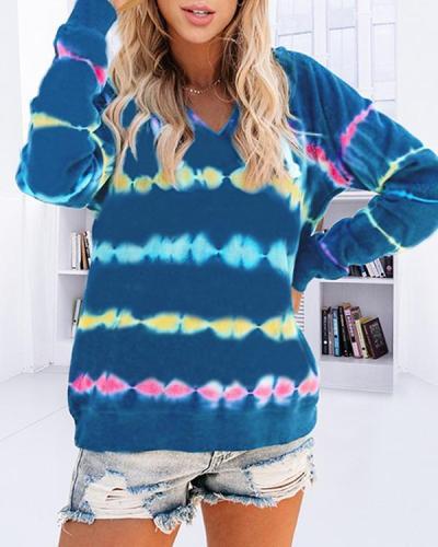 Plus Size Tie-dye Printed Hooded Sweatshirt