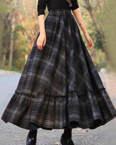 Vintage A Line Skirt Plaid Dress