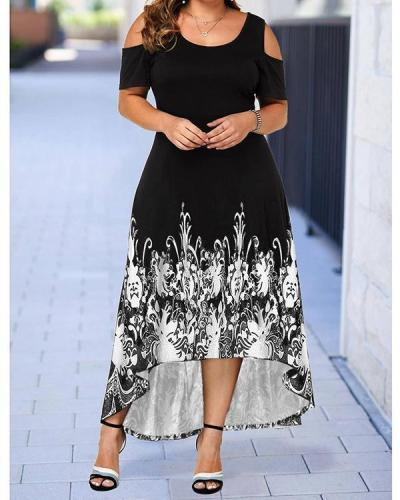 Plus Size Print Cold Shoulder Sleeve Asymmetrical Casual Elegant Dress