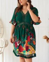 V-neck Printed Bohemian Dress
