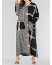 Plus Size Plaid V-Neck Casual Pockets Maxi Dress