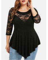 Plus Size Floral Lace Panel Asymmetrical T-shirt