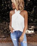 Women Fashion Halter Solid Color Off Shoulder Sleeveless Blouse