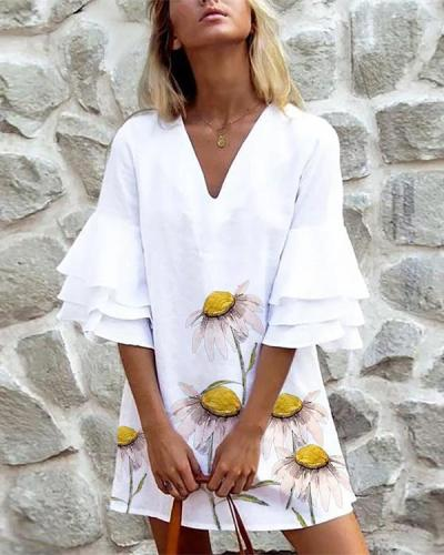 Floral Ruffle Sleeve Straight Dresses