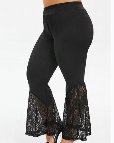 Sexy Lace Stitching Flared Pants