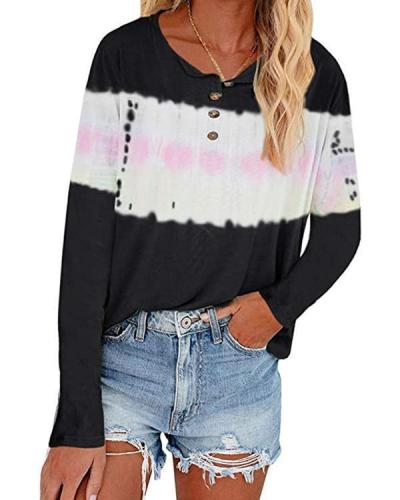 Color Stitching V Neck Button Long Sleeve Loose T-shirts