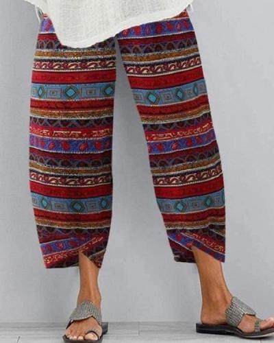 Floral Printed Elastic Cropped Pants