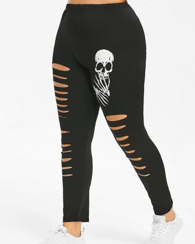 Plus Size Distresses Skull Graphic Legging