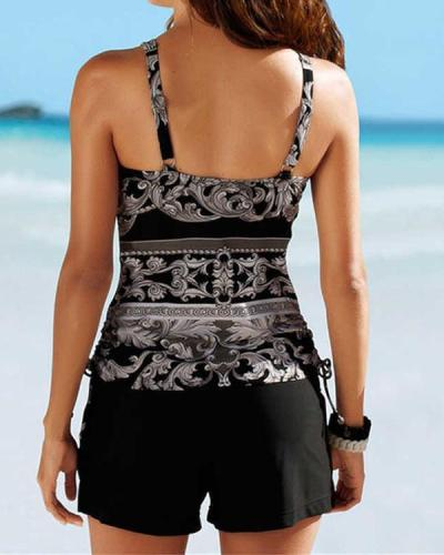 Floral Strap Classic Tankinis Swimsuits