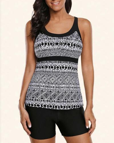 Geometric Print Tankini Swimsuit