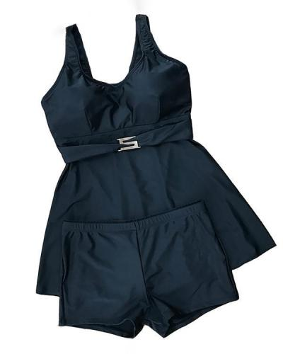 Solid Color Boxer Skirt Tankini Swimsuit
