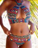 Striped Bikini Women's Cross Swimsuit
