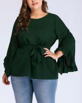 Solid Color Ruffled Loose Long Sleeve Top