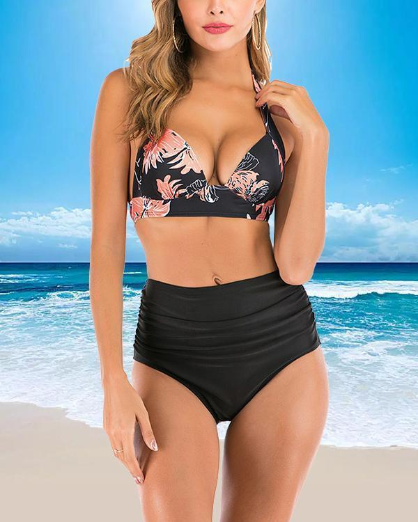 Print High Waist Split Swimsuit