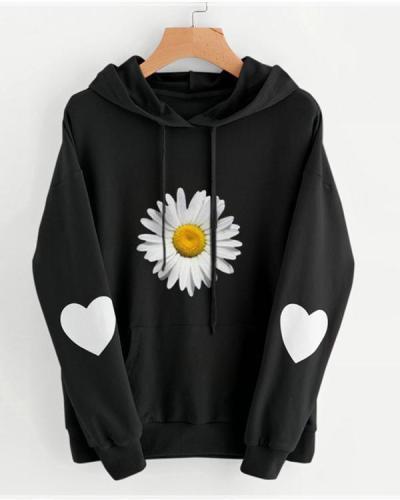 Daisy Print Cute Long Sleeve Hoodies