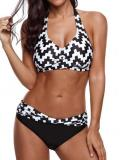 Plus size Two Piece Mosaic Print Halter Bikini