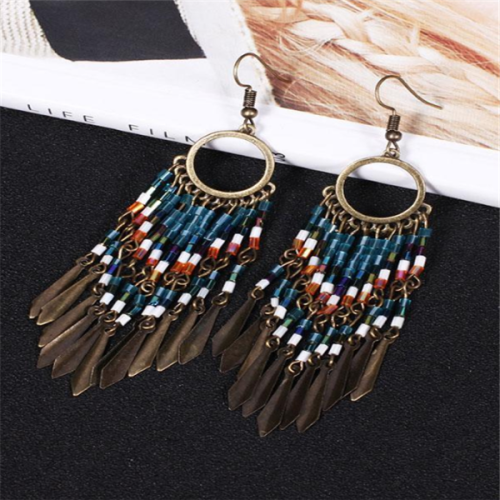 Womens Vintage Beaded Pendant Tassels Earrings