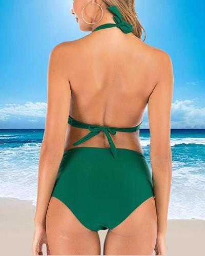 Solid Color High Waist Split Swimsuit