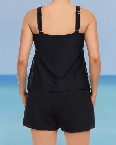 Solid Color Push Up Strap U-Neck Vintage Plus-Size Tankinis Swimsuits