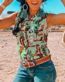Women Summer Daily Causal Vintage Boho Geometric Printed Shirt Collar Vest Tops