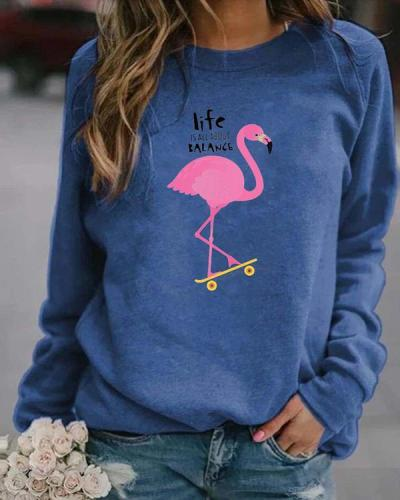 Animal Letter Print Casual Round Neckline Sweatshirts Tops