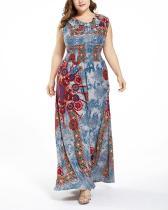 Vintage Sleeveless Temperament Slim Plus Size Long Dress