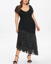 Round Neck Short Sleeve Polka Dot Chiffon Stitching Dress