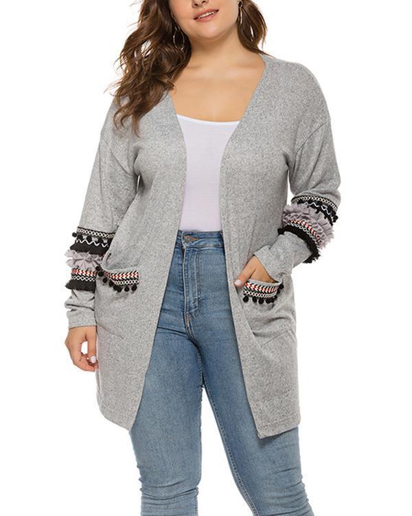 Plus Size Stitching Pocket Cardigan Jacket