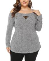 Plus Size Long-sleeved Mesh Off-shoulder Top