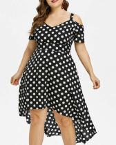 Sling Strapless Polka Dot Large Irregular Long Dress