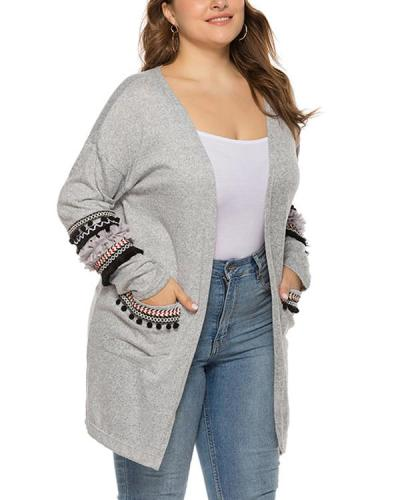 Plus Size Stitching Pocket Cardigan Jacket