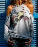 Plus Size Animal Printed Long Sleeve Hollow out Shirts & Tops