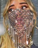 Glitter Studded Tassel Pattern Hollow Out Face Mask