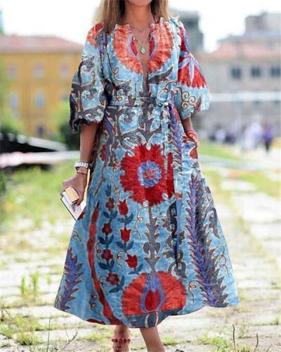 Street Style VacationTribal Print Maxi Dress