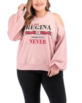 Off-the-shoulder Casual Letter Printing Long-sleeved Plus Size Sweatshirts