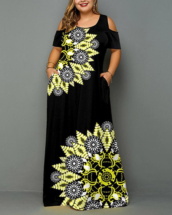 Plus Size Ladies Pocket Printed Sling Dress