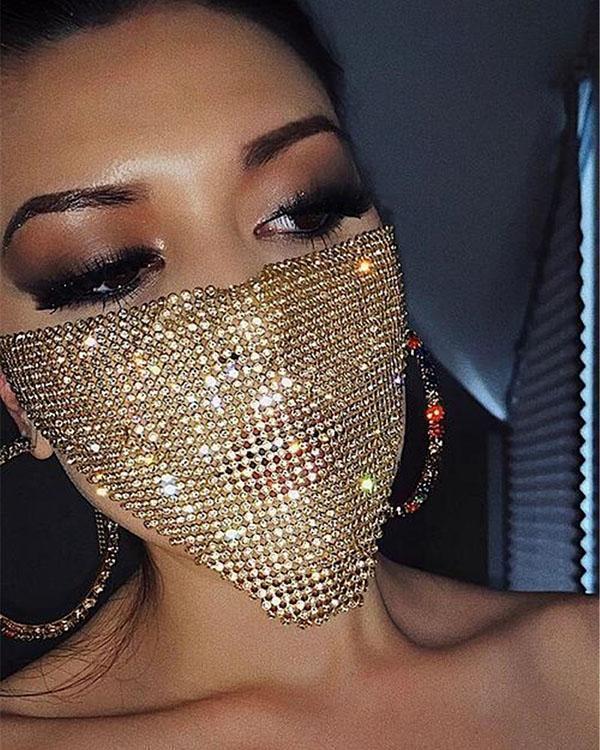 Breathable Rhinestone Flash Diamond Masquerade Mask Jewelry