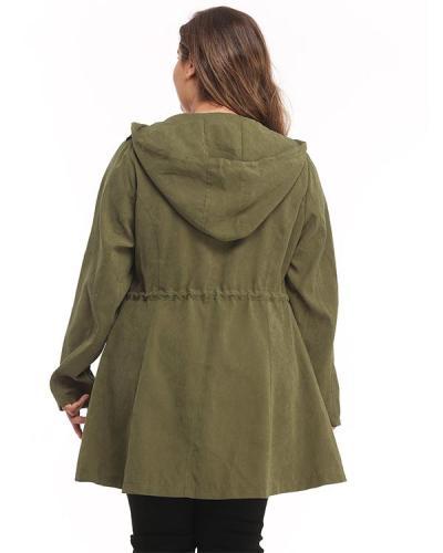 Long Sleeve Zipper Plus Size High Waist Coat