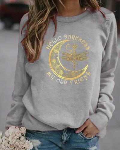My Old Friend Pullover Round Neckline Sweatshirts