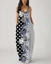 Printed Plus Size Spaghetti Strap Pocket Dress