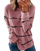 Plus Size Retro Tie-dye Striped Long-sleeved T-shirts
