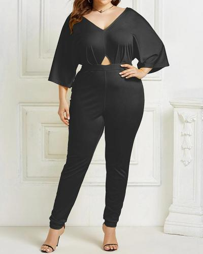 Plus Size Plain Fashion Full Length Skinny Mid Waist Jumpsuit