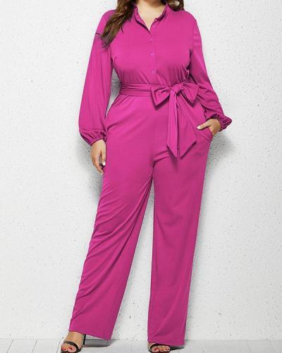 Plain Lace-Up Casual Slim Straight Jumpsuit