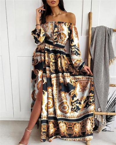 Print Long Sleeves A-line Casual Maxi Dresses